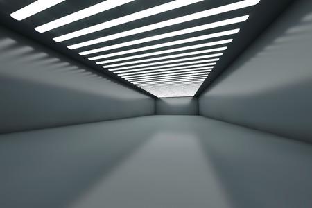 3D illustration of a empty warehouse with illumination. illustration