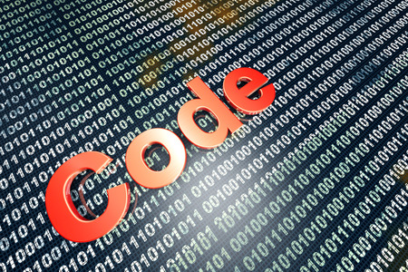 The word Code in front of a binary background. Stock Photo