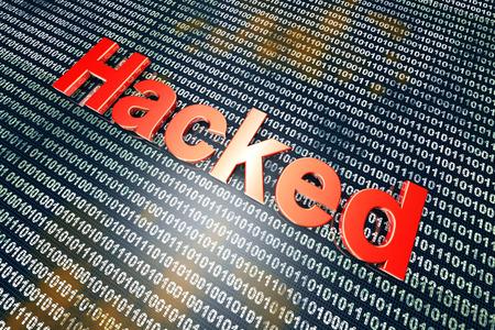 hacked: Hacked digital code. 3D illustration.