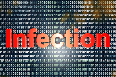 compromised: Virus infected digital source code. 3D illustration. Stock Photo
