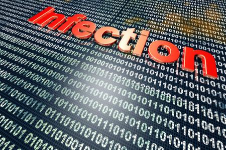 Virus infected digital source code. 3D illustration. Stock Photo