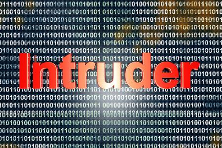 intruder: Intruder in digital code. 3D illustration.