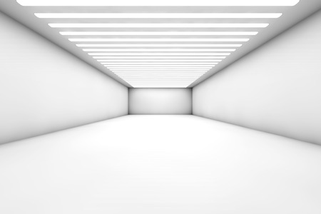 3D illustration of a empty and reflective warehouse with illumination. illustration