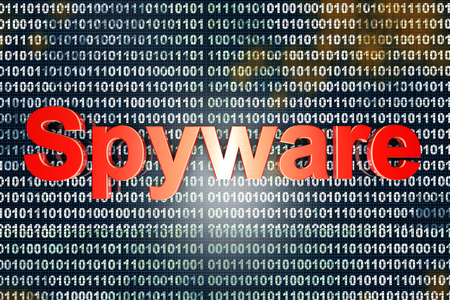 Spyware in the code. Typography in front of digital, binary background.  photo