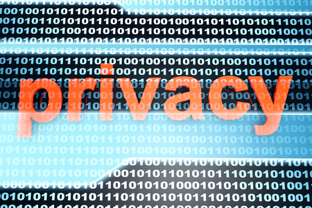 The word Privacy in front of a binary background. photo