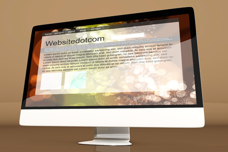 all in one: All in one Computer showing a generic website. 3d illustration. Stock Photo