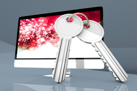 all in one: A modern All in one computer with a pair of Keys symbolizing security.