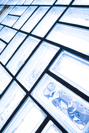 glass brick: A glass brick wall background. Architecture interior. Archivio Fotografico