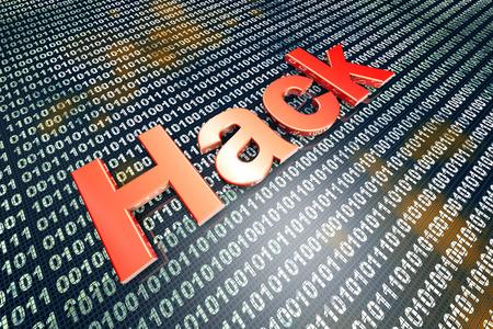 hacked: Hacking and digital code. 3D illustration.