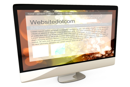 all in one: All in one Computer showing a generic website. 3d illustration. Isolated on white.