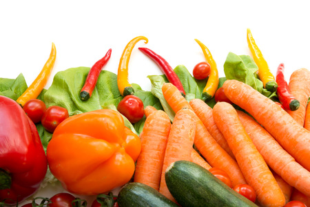 Various vegetables as a background isolated on white. photo