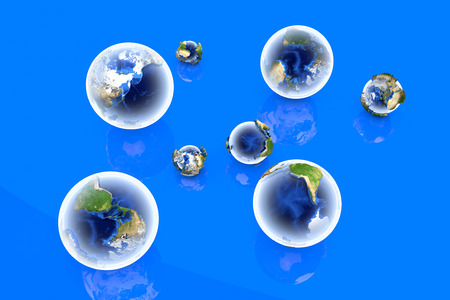 A bunch of globes of different sizes and angles. 3D illustration. illustration