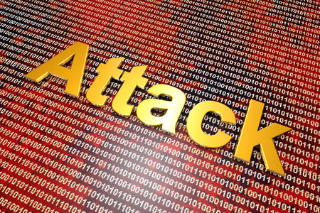 cyberwar: Digital attack on binary code in a cyberwar or hacking attack. 3D illustration. Stock Photo
