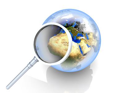 Searching worldwide. 3D illustration. illustration