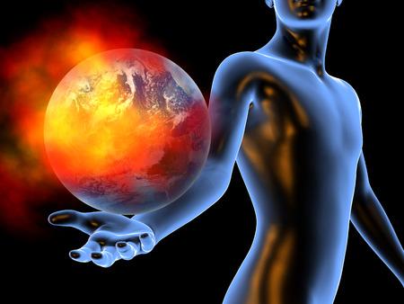 humanidad: El calentamiento global en manos de la humanidad. Ilustraci�n 3D. Foto de archivo