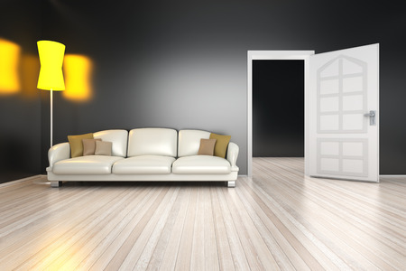 render residence: A modern and dark living room. 3D Illustration.