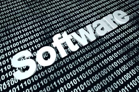Binary code Software Development. 3D Illustration.