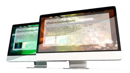all in one: Two All in one Computer showing generic websites. 3d illustration. Isolated on white. Stock Photo