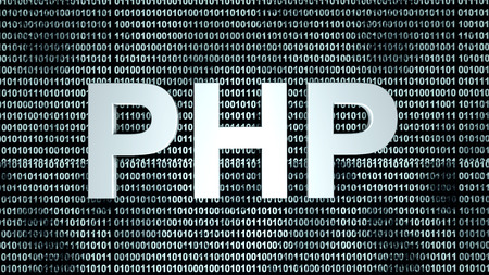 A digital binary code background with the abbreviation of PHP for the famous coding language used on the internet.