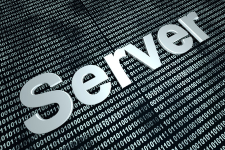 webhost: The word server  in front of a binary background symbolizing the digital code of software. Stock Photo