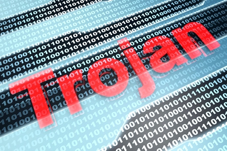compromised: A Trojan virus infected digital source code. 3D illustration. Stock Photo