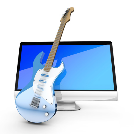 masters of rock: Digital guitar - A All in one computer with a Guitar. 3D illustration. Isolated on white. Stock Photo