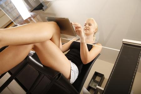 secretary desk: Blonde girl working