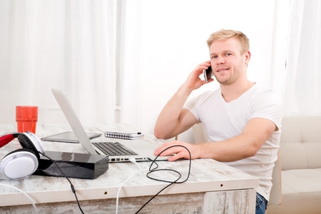teleworker: Working at home