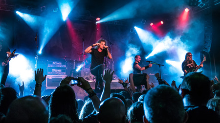 thrash: BUDAPEST, HUNGARY - MARCH 13: The thrash metal band Overkill performing live on stage on the Killfest Tour on March 13, 2015 in Budapest, Hungary.