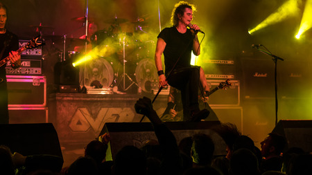 march band: BUDAPEST, HUNGARY - MARCH 13: The thrash metal band Overkill performing live on stage on the Killfest Tour on March 13, 2015 in Budapest, Hungary.