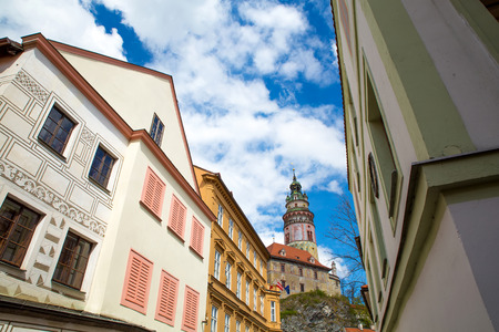 republik: View on the Krumlov Castle from the old town in Bohemia, Czech Republik, Europe.