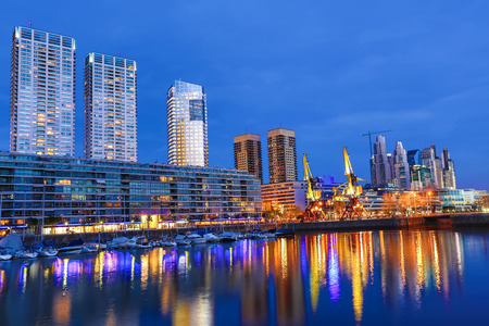 argentina: The famous neighborhood of Puerto Madero in Buenos Aires, Argentina at night. Stock Photo