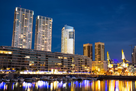 The famous neighborhood of Puerto Madero in Buenos Aires, Argentina at night. Stock Photo