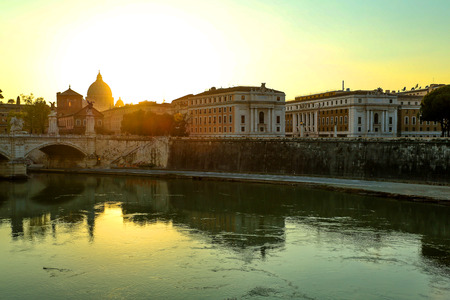 tiber: HDR image of the view over the river Tiber and the Vatican in Rome, Italy, Europe.