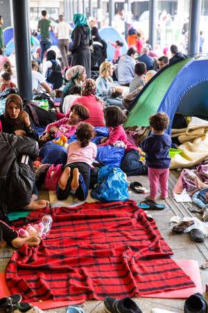 astray: BUDAPEST, HUNGARY - SEPTEMBER 04: Refugees stranded in the underground section of the eastern Train Station Keleti Palyudvar on September 04, 2015 in Budapest, Hungary.