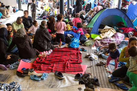 BUDAPEST, HUNGARY - SEPTEMBER 04: Refugees stranded in the underground section of the eastern Train Station Keleti Palyudvar on September 04, 2015 in Budapest, Hungary.