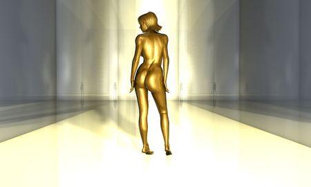 3d nude: Golden Beauty