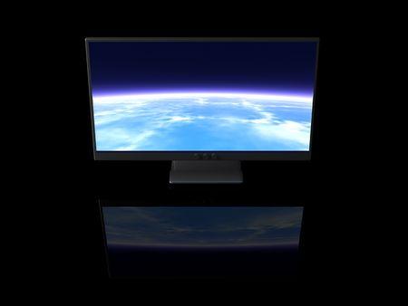 blue widescreen widescreen: Bright Display Stock Photo