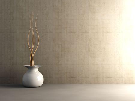 furnished: Concrete Interior - Unbalanced lightning Stock Photo