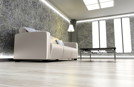 bedroom interior: 3D rendered Illustration. An living room. Dark concrete style.