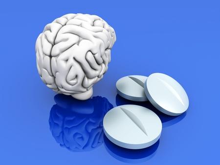 psique: Algunas pastillas para el cerebro. Simb�lico para drogas, Psychopharmaceuticals, nootr�picos y otros medicamentos. Ilustraci�n procesada 3D.