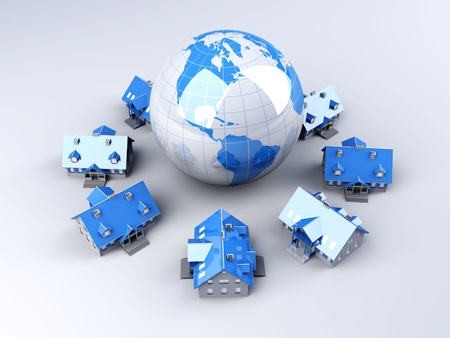 render residence: Real estate arround the World. 3D rendered Illustration.  Stock Photo