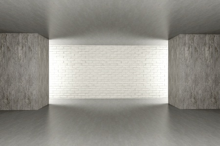 domestic garage: 3D rendered Illustration. An empty room. Dark concrete style.