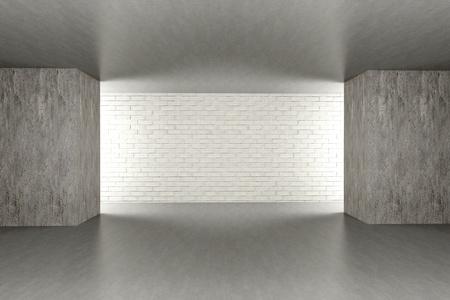 dark room: 3D rendered Illustration. An empty room. Dark concrete style.