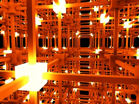 wan: 3D rendered Illustration. A glowing grid.  Stock Photo