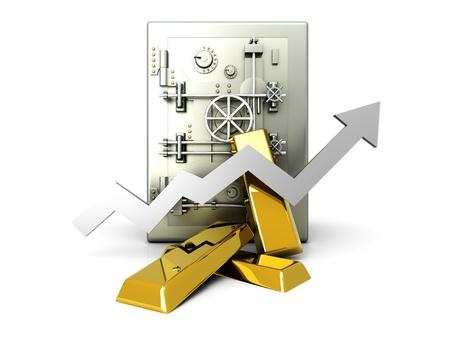 commodities: Creciente valor de la inversi�n en oro. 3D prestados ilustraci�n. Aislado en blanco.