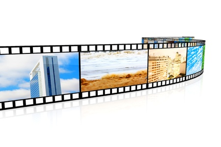 reel: A Photo film. 3D rendered Illustration. Isolated on white.