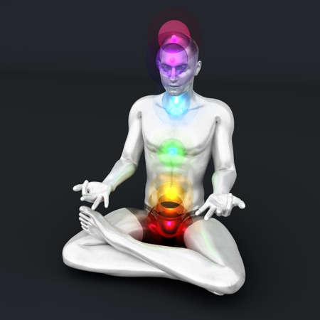 aura energy: A woman performing a full chakra meditation. 3D rendered illustration.