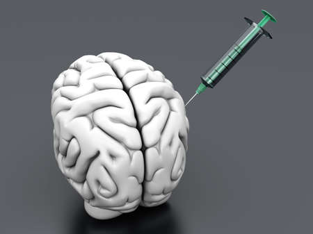 substances: Syringes injecting substances into a human brain.