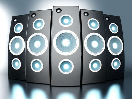 amplify: A set of powerful Loudspeakers. 3D rendered Illustration.